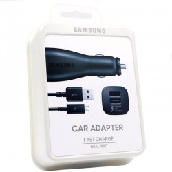 (Samsung Fast Charging Dual Car Charger (Micro-USB