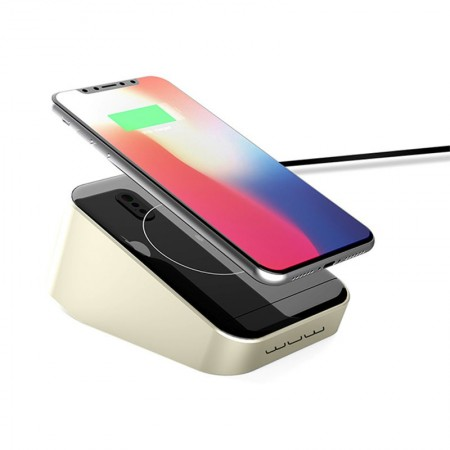WUW W11 Qi Wireless 12V Quick Charger Pad with 3 USB Outputs for iPhone Samsung