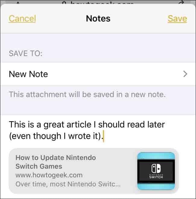استفاده از دکمهی Share برای ایجاد یادداشت در Notes آیفون