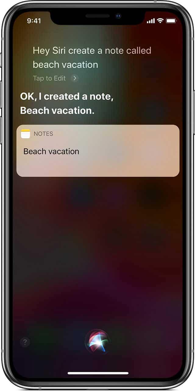 یادداشت برداری در Notes آیفون با دستیار صوتی Siri